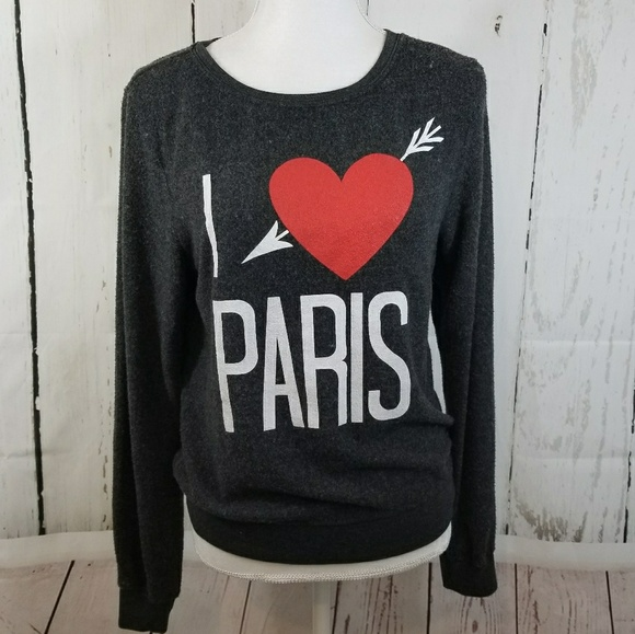 Wildfox Couture Women/'s I Love Paris Gray Baggy Beach Jumper Sweater Size Medium